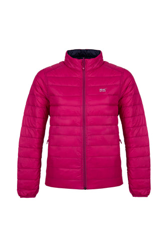 Women's Fuchsia-Navy Reversible Down Puffer Jacket - Packable