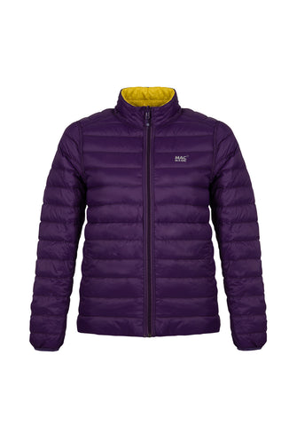 Women's Grape-Yellow Reversible Down Puffer Jacket - Packable