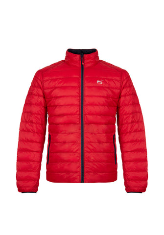 Mens Red-Navy Reversible Down Puffer Jacket - Packable
