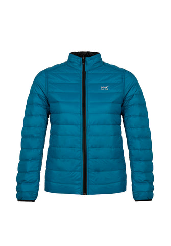 Women's Teal-Black Reversible Down Puffer Jacket - Packable