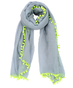 Scarf - Pom Pom Grey Yellow