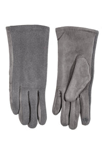 Suede Style Gloves - Grey