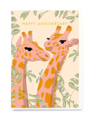 Happy Anniversary Card - Giraffes