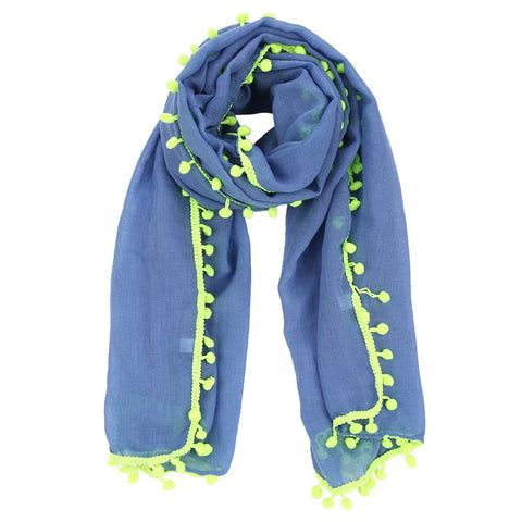 Scarf - Pom Pom Blue Yellow