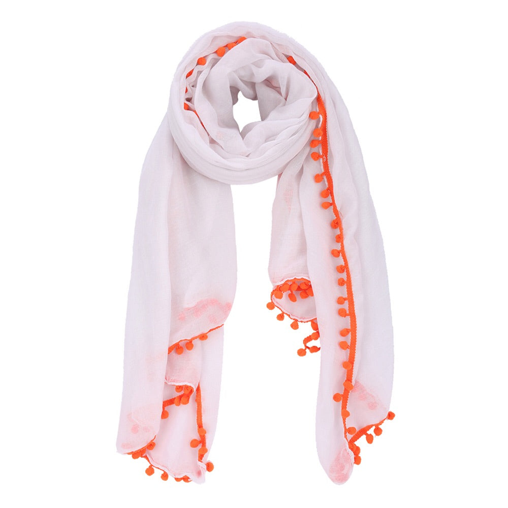 Scarf - Pom Pom White Orange