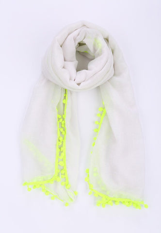 Scarf - Pom Pom White Yellow