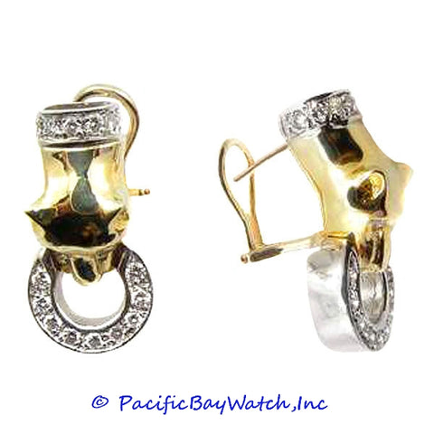 Ladies 14k Yellow and White Gold Diamond Earrings