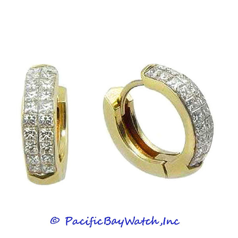 Ladies 18k Yellow Gold Diamond Earrings