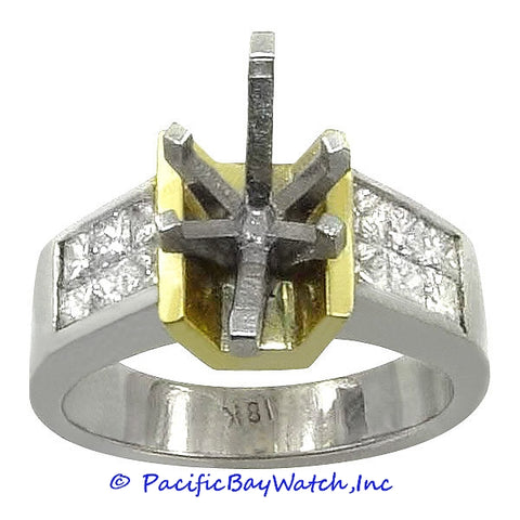 18K Yellow and White Gold Ladies Diamond Ring Mounting