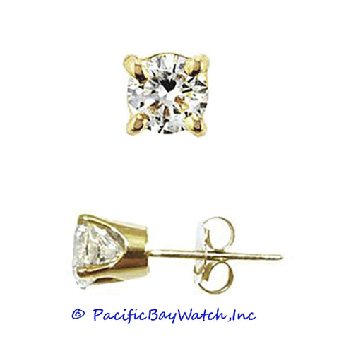 Ladies Yellow Gold Stud Diamond Earrings 0.43ct. T.W.