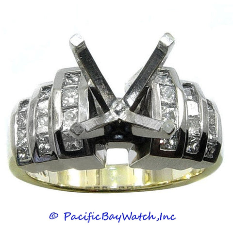 Yellow and White Gold Ladies Diamond Ring Mounting