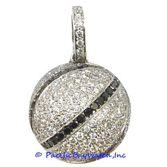 14K White Gold Basketball Pendent for Men