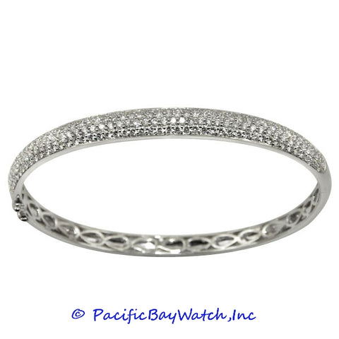 Ladies 18K White Gold Diamond Bangle