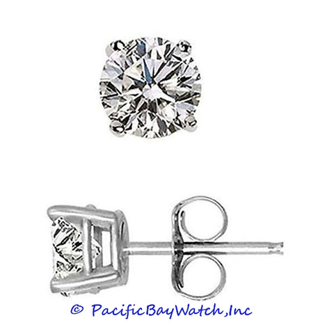Ladies White Gold Stud Diamond Earrings 1.41ct. T.W.