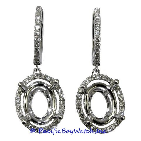 Ladies 18k White Gold Diamond Earrings
