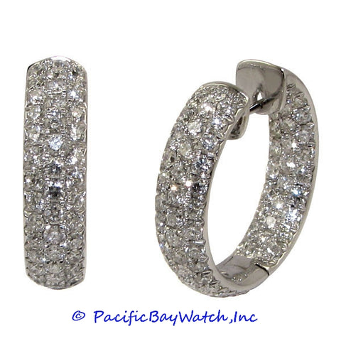Ladies 18k White Gold Diamond Hoop Earrings
