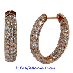 Ladies 18k Rose Gold Diamond Hoop Earrings