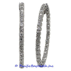 Ladies 14k White Gold Diamond Hoop Earrings