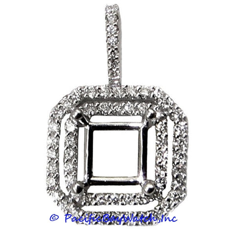 Ladies 18K White Gold Diamond Pendant Mounting