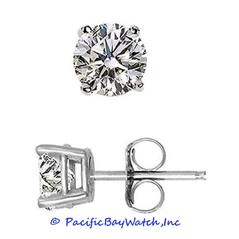 Ladies White Gold Stud Diamond Earrings 1.45ct. T.W.