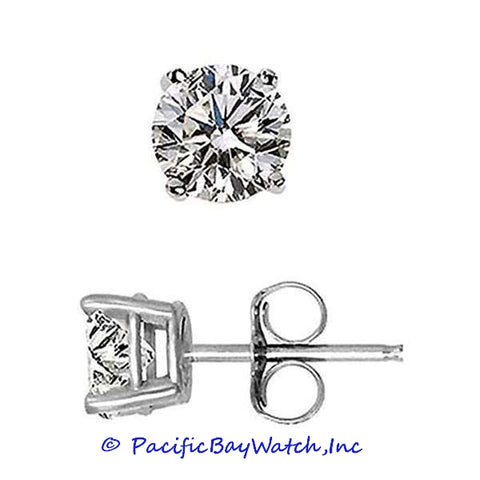 Ladies White Gold Stud Diamond Earrings 3.96ct. T.W.