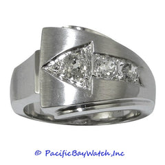 Men's 14K White Gold Arrow Diamond Ring