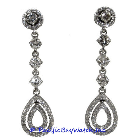 Ladies 18k White Gold Diamond Dangle Earrings