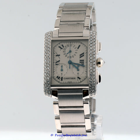 Cartier Tank Fransaise Chronoflex White Gold Diamond Pre-owned