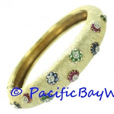 M. Buccellati Diamond Ruby Emerald Sapphire Bangle
