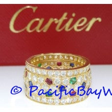 Cartier Diamond, Ruby, Emerald and Sapphire Band Pre-owned