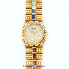 Chopard St. Moritz Diamond and Multi-Color Sapphire Rainbow Yellow Gold 25/4334-24