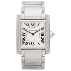 Cartier Tank Francaise 18k White Gold Ladies Watch 2404