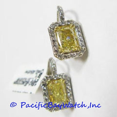 18k White Gold Earrings with Fancy Yellow Diamonds