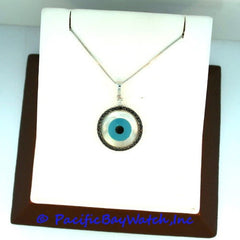 Evil Eye Ladies Pendant Mother of Pearl with Diamonds
