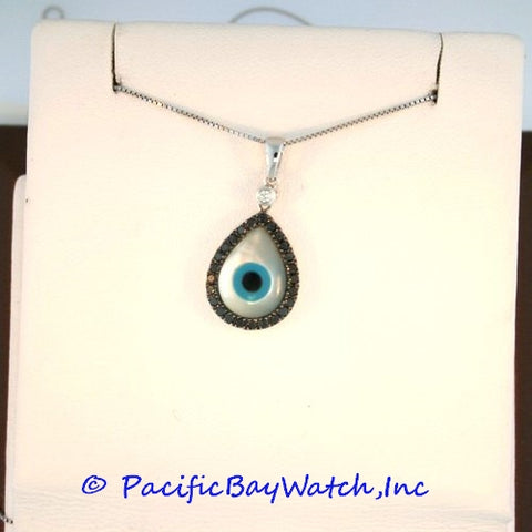 Evil Eye Tear Drop Pendant Mother of Pearl with Diamonds