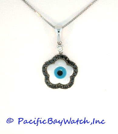 Evil Eye Flower Pendant Mother of Pearl with Black Diamonds