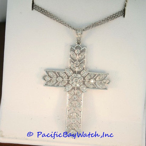 18kt White Gold Diamond 1.60ct. tw. Ladies Cross