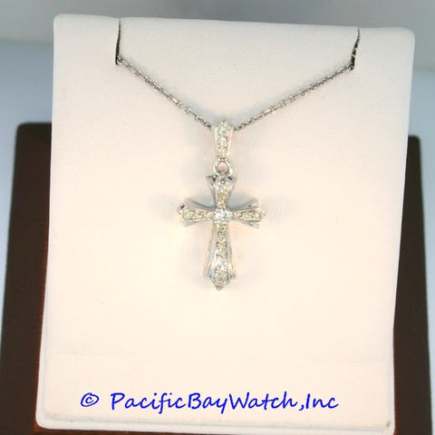 14kt White Gold Diamond Ladies Cross