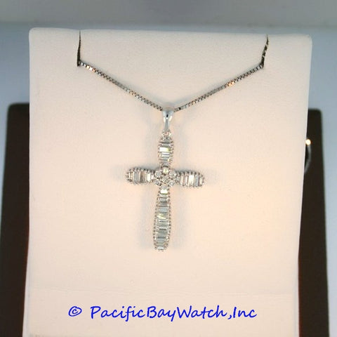 18kt White Gold Diamond Ladies Cross