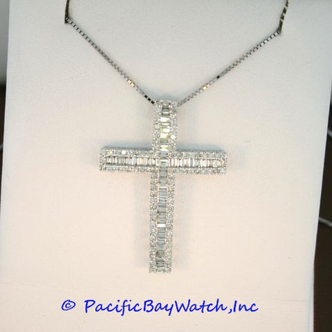 18kt White Gold Diamond Cross 1.70ct. tw.
