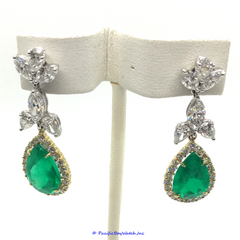 Platinum and 18k Yellow Gld Diamond and Emerals Dangle Earrings