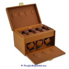 Scatola Tan Leather Watch Winder 7RT