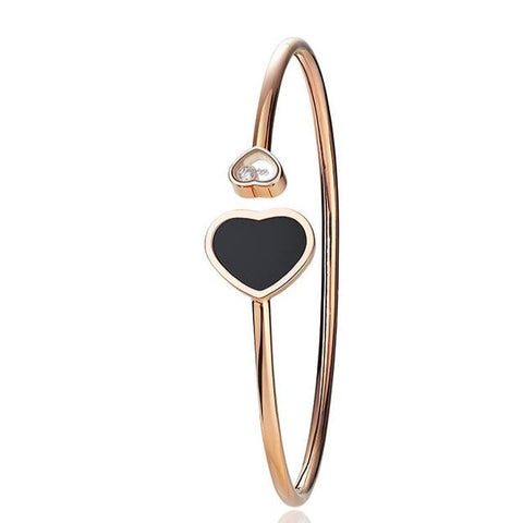 Chopard Happy Hearts Rose Gold & Onyx Bangle 857482-5203