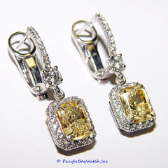 18k White and Yellow Gold Earrings with Fancy Yellow Diamonds