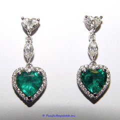 18k White Gold Diamond and Emerals Dangle Earrings