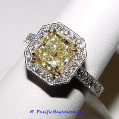 18K White Gold Ladies Fancy Yellow Diamond Ring