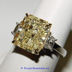 Platinum and Gold Ladies Fancy Yellow Diamond Ring