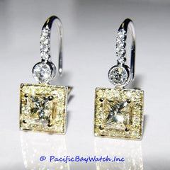 18k White and Yellow Gold Earrings with Fancy Light Yellow Diamonds
