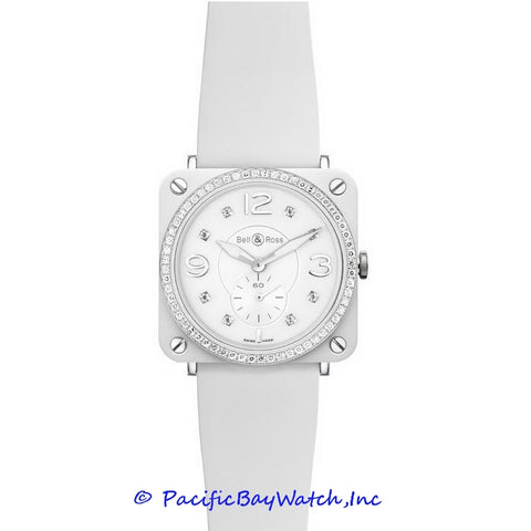 Bell & Ross Mid-Size BR-S Ceramic white with diamonds