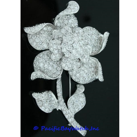 Ladies Broche 18k White Gold Pave Diamonds